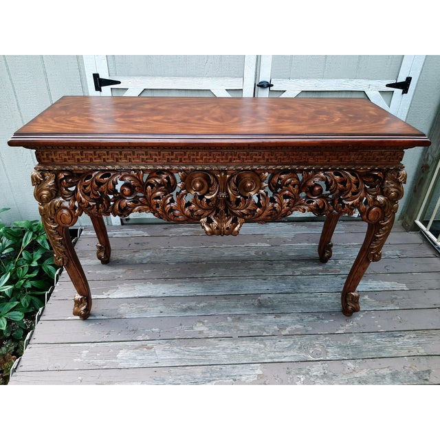 Vintage Theodore Alexander Althorp Carved Wood Gilded Console Table For Sale - Image 12 of 13