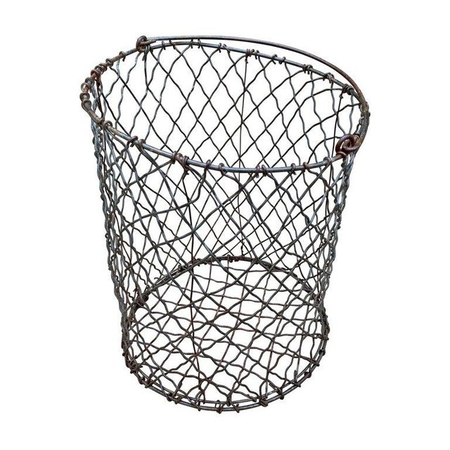 Gray Vintage American Industrial Wire Basket For Sale - Image 8 of 8