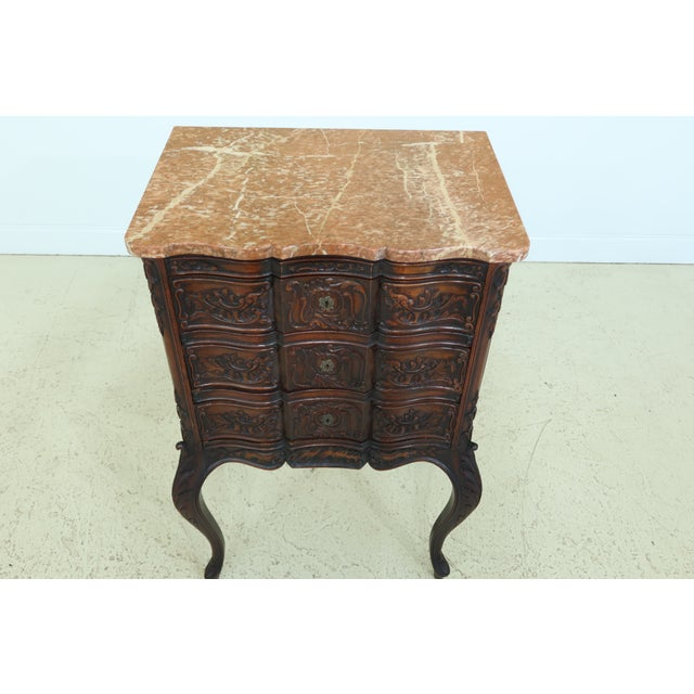 French Vintage French Louis XV Marble Top Walnut Chest For Sale - Image 3 of 13