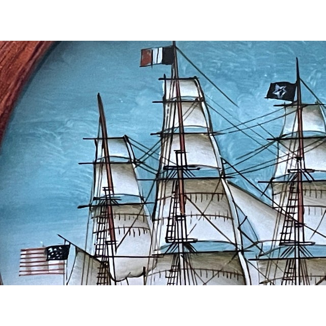 1980s Vintage American Clipper Ship Reverse Painted Wood Box, Round Trinket Box For Sale - Image 5 of 11