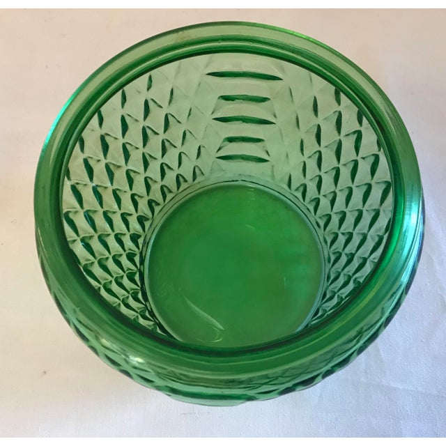 Mid Century Green Glass Patterned Vase/Planter For Sale In Dallas - Image 6 of 8