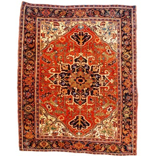 Late 19th Century Antique Persian Serapi Rug - 5′ × 6′2″ For Sale