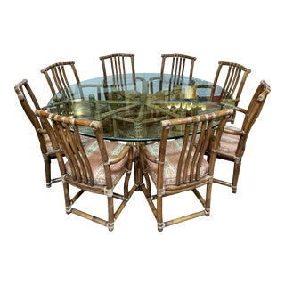 McGuire Furniture Glass + Bamboo Dining Room Table Set For Sale