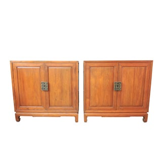 Vintage Solid Teak Chinoiserie / Asian Storage Cupboards, File or Record Cabinets - a Pair Preview
