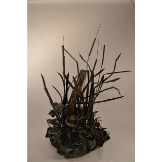 Large Verdigris Copper Cattails and Driftwood Fountain Preview