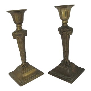 Vintage Brass Rams Head Candle Holders - A Pair