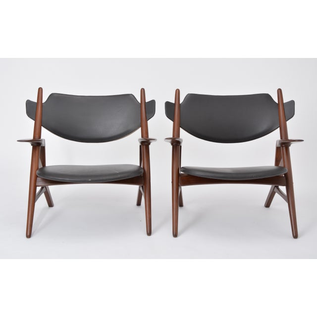 Mid 20th Century Pair of 1950s Vintage Black Midcentury Chairs For Sale - Image 5 of 12