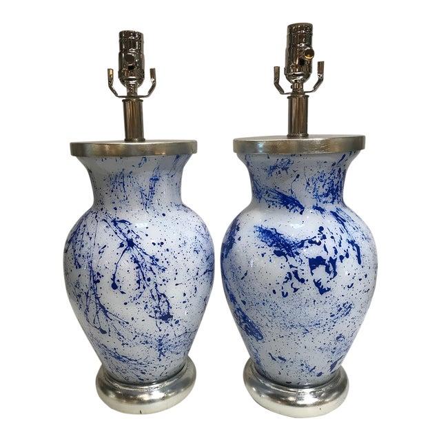 Liz Marsh Designs Blue Spatter Eglomise Lamps - a Pair For Sale