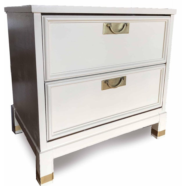 Asian 1960s Hollywood Regency White 2-Drawer Nightstands - a Pair For Sale - Image 3 of 9