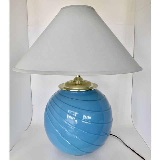 Art Deco Sky Blue Glass Table Lamp - Image 2 of 9