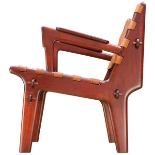 Angel Pazmino Modern Leather Slung Easy Armchair For Sale