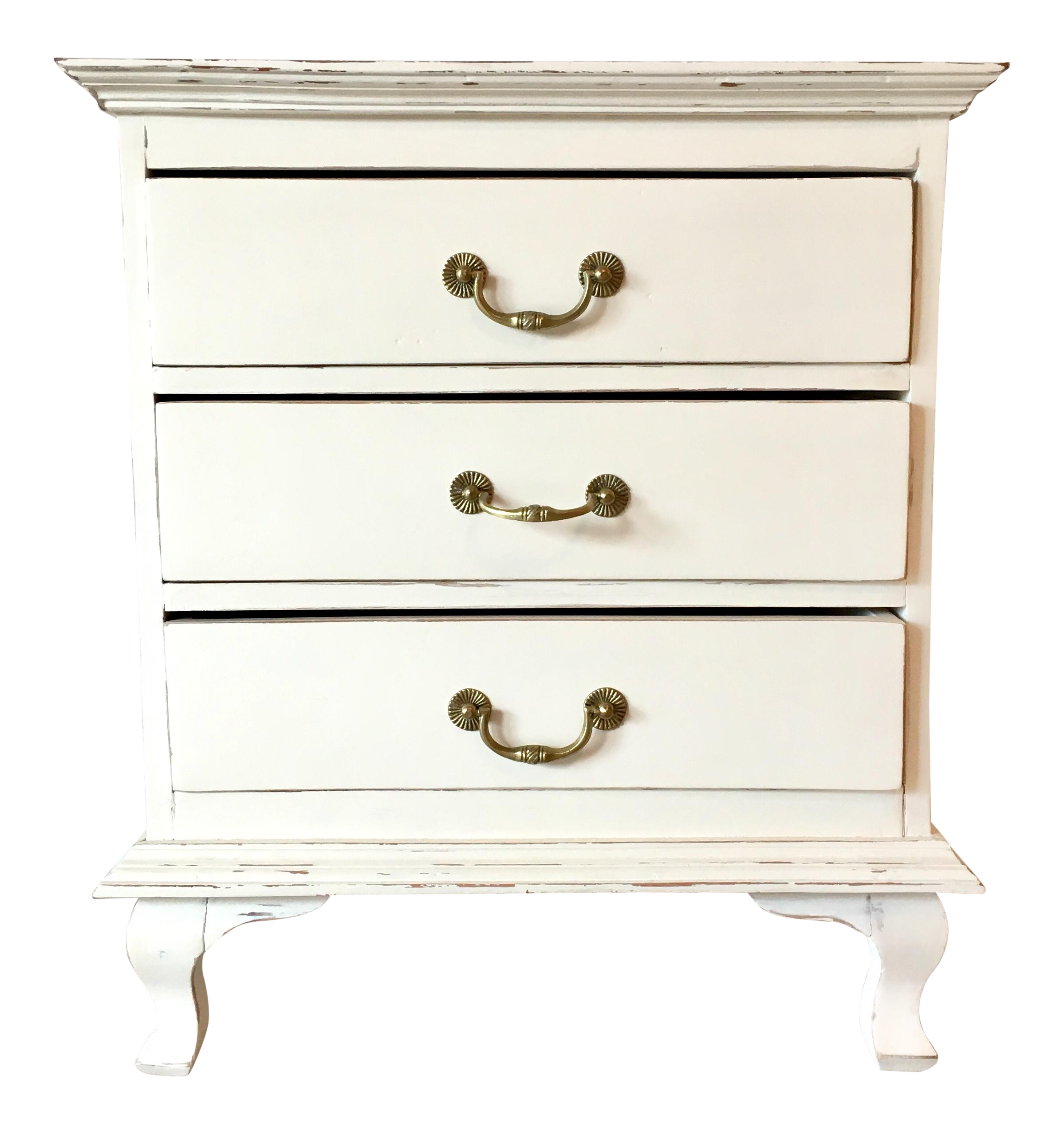 1990s Boho Chic 3 Drawer Off White Nightstand