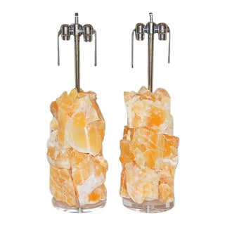Calcite Rock Table Lamps by Swank Lighting Orange- A Pair For Sale
