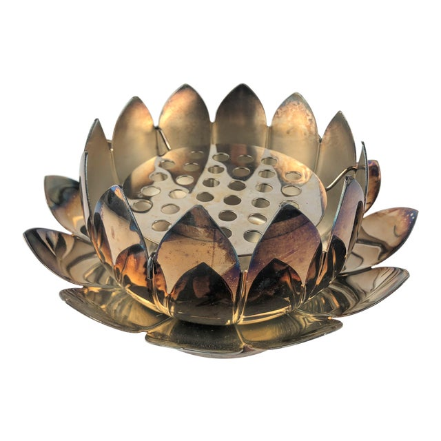 Vintage Leonard Silverplate Lotus Flower Bowl With Frog 3 Pieces