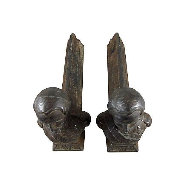 Cast Iron Napoleon Fireplace Andirons - A Pair For Sale - Image 7 of 10