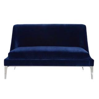 Worlds Away Modern Navy Blue Velvet Gianna Settee For Sale