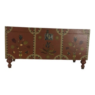 19th Century Americana Style Painted Trunk For Sale