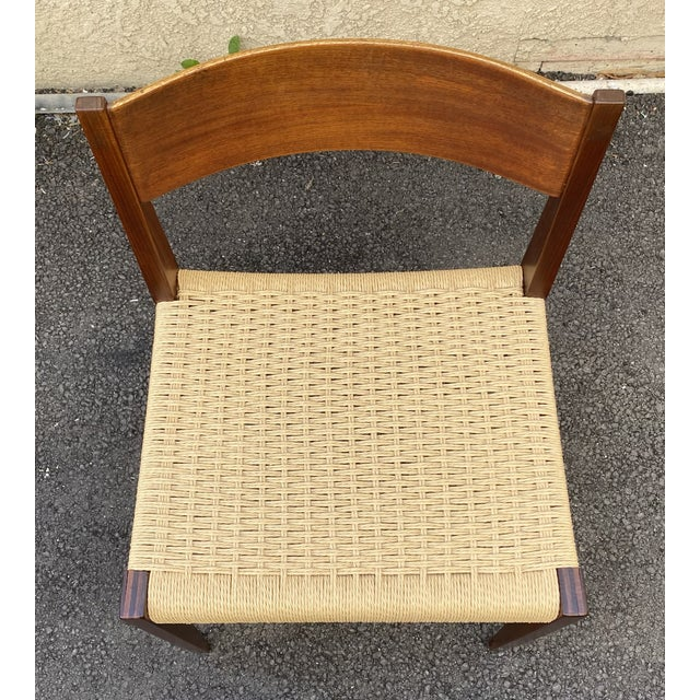Mid-Century Modern Set of 4 Danish Teak Cord Seat Dining Chairs For Sale - Image 3 of 12