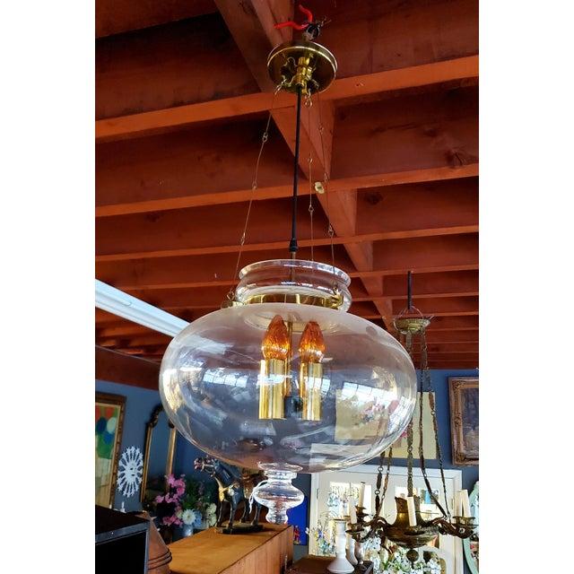 Transparent 1960s Vintage Glass Globe Hanging Light Fixture For Sale - Image 8 of 13