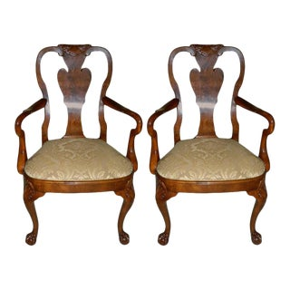 Hand Carved Walnut Queen Anne Style Armchairs, 20th Century - A Pair For Sale