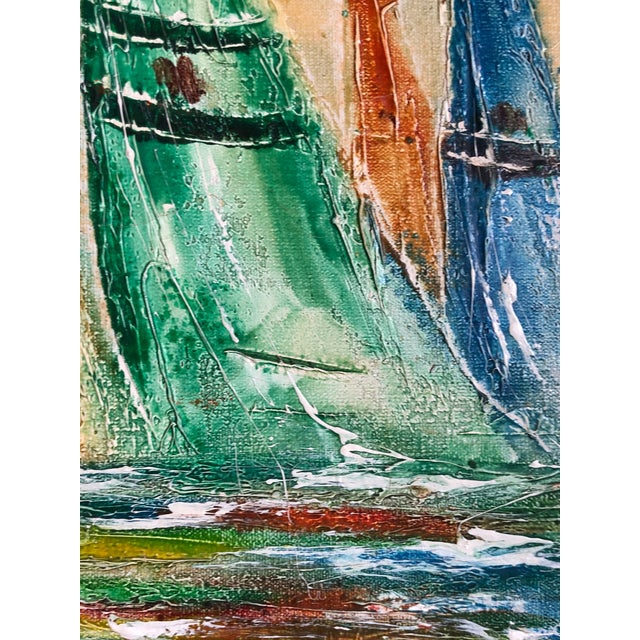1970s Coastal Vintage Sail Boats Painting For Sale - Image 5 of 11