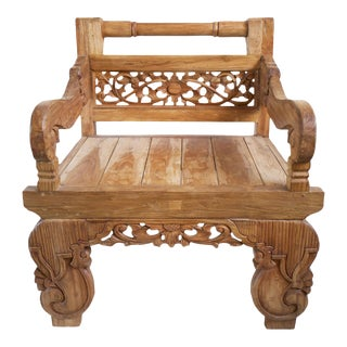 Teak Carved Arm Chair