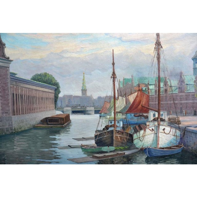 Nautical 'Harbor, Denmark' by George Gundorff For Sale - Image 3 of 5