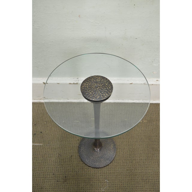 Hammered Brass Round Glass Top Pedestal Side Table For Sale - Image 4 of 10