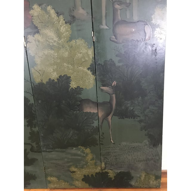 Painted Four Panel Screen With Landscape and Deer For Sale In Charlotte - Image 6 of 13