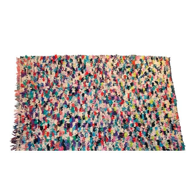 """Vintage Boucherouite Moroccan Carpet - 6'5"""" X 4'10"""" For Sale"""
