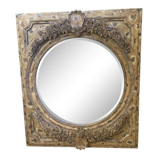 LaBarge Distressed Gold Roses Wall Mirror For Sale