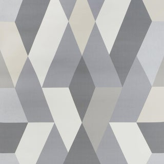 Sample - Schumacher X Clements Riberio Deco Diamonds Wallpaper in Dove For Sale