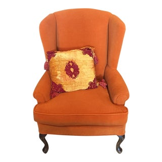 Dudu Orange Upholstered Wingback Armchair For Sale