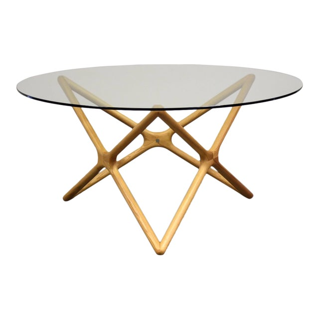 "Sculpted Ash and 59"" Round Glass Dining Table For Sale"