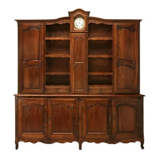 Circa 1820 Antique French Walnut Louis XV Vaisselier With Clock For Sale