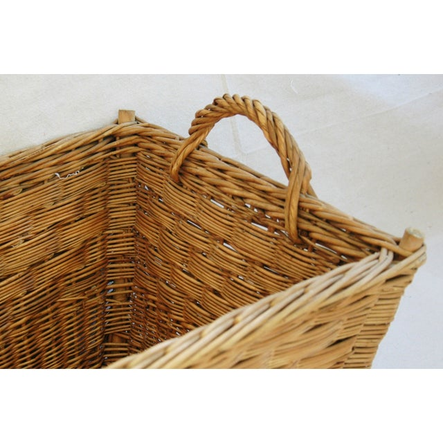 Early 1900s French Willow & Wicker Market Basket For Sale - Image 4 of 9