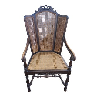 1960s Vintage Cane Arm Chair For Sale