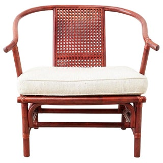 Baker Ming Style Lacquered Bamboo Rattan Horseshoe Armchair For Sale