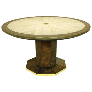 John Widdicomb Burl Walnut and Sunburst Travertine Game Table With Brass Inlay For Sale