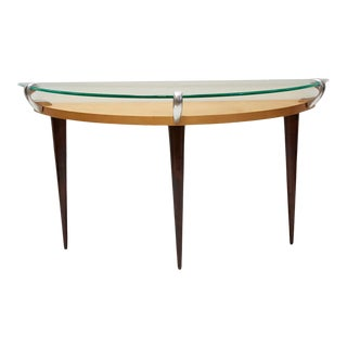 Vintage Postmodern Two-Tier Demilune Console Table For Sale