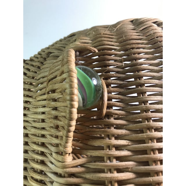 1970s 1970s Mid Century Wicker Frog Basket With Glass Marble Eyes For Sale - Image 5 of 9