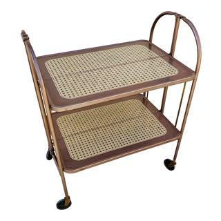1960s Vintage Metal Folding Bar Cart For Sale