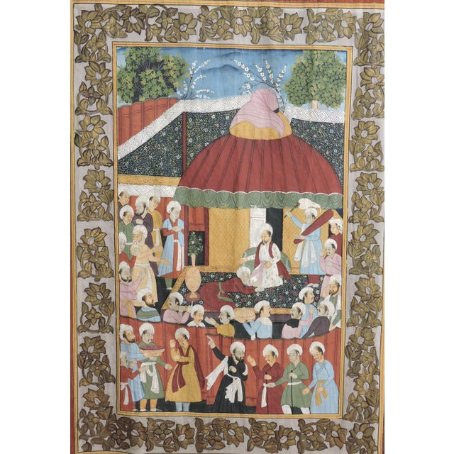 Large Ottoman/Mughal hand painted scene, gouache on paper, backed on to beautifully woven burnt orange fine silk cloth,...