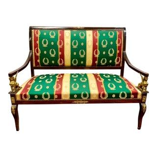Egyptian Revival Bronze Mounted Mahogany Settee Bench For Sale