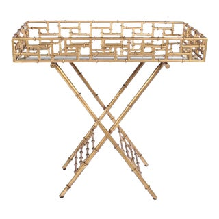Hollywood Regency Style Gilt Metal Bamboo Bar