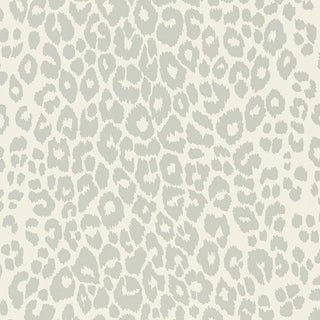 Sample - Schumacher Iconic Leopard Pattern Animal Print Wallpaper in Cloud Grey For Sale