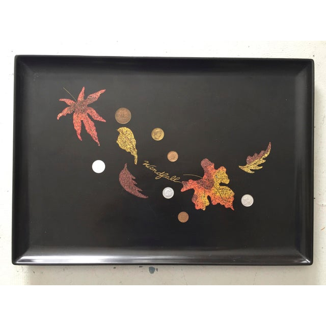 Plastic Mid-Century Couroc Windfall Falling Leaves Coin Cocktail Tray For Sale - Image 7 of 7