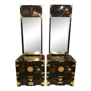 Midcentury Chinese Chinoiserie Black Lacquer Nightstands - A Pair For Sale