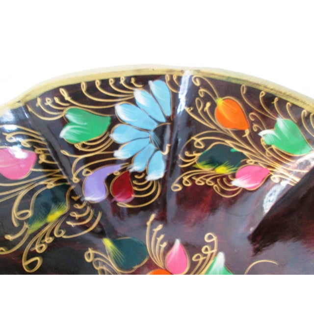 Large Mexican Batea Hand-Painted Wood Bowl For Sale - Image 5 of 6