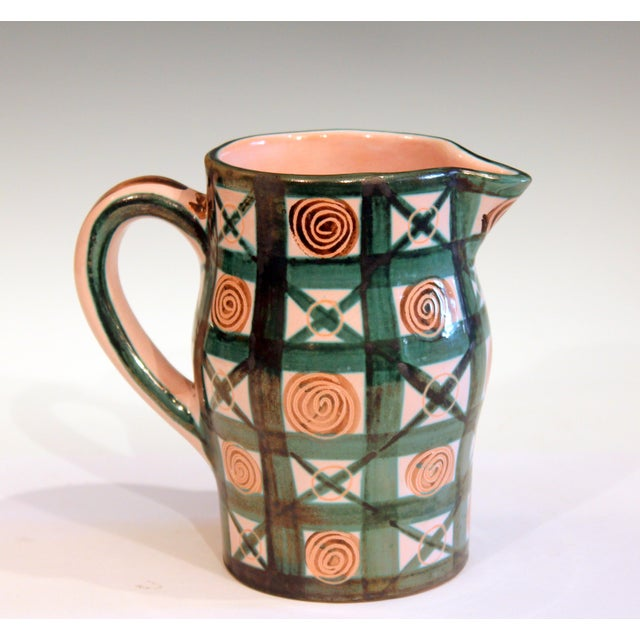 "Vintage French Robert Picault pitcher jug, circa 1960's. Nice design, good color, crisp execution. Signed on base. 6 1/4""..."